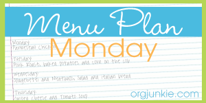 Menu Plan Monday 10/20