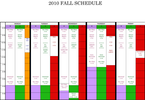WFMW:  A Color Coded Weekly Schedule